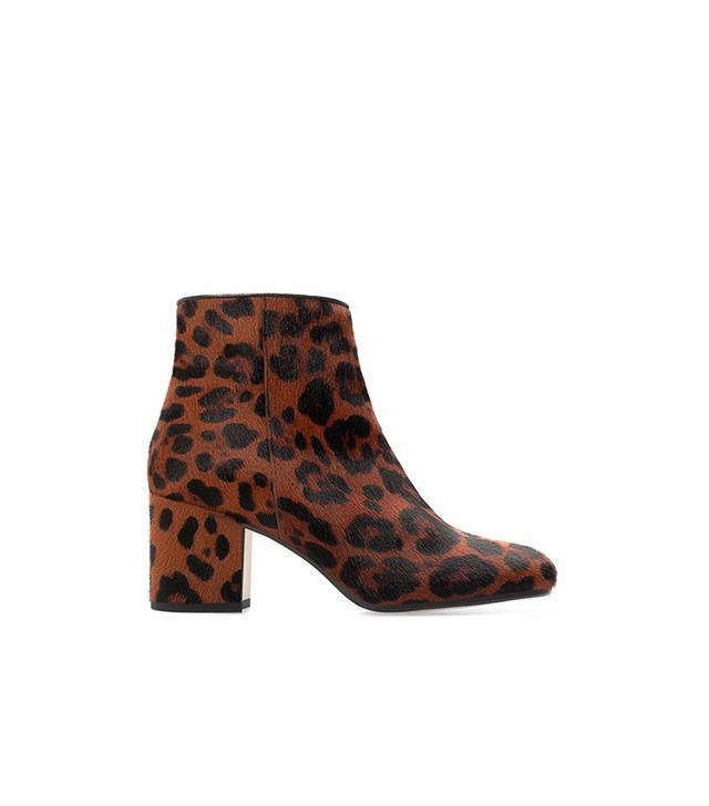 Zara High Heeled Printed Leather Booties
