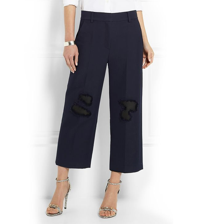 Alexander Wang Leather-Trimmed Cropped Twill Wide-Leg Pants