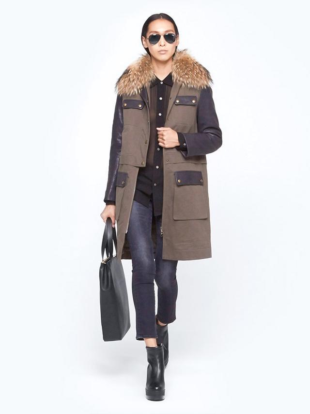 Yves Salomon Leather Sleeve Parka