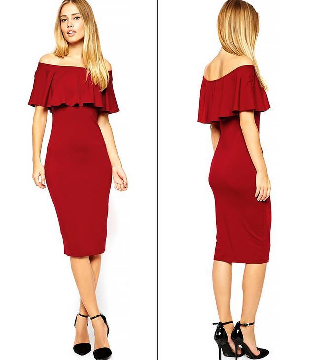 ASOS Ruffle Top Midi Bardot Dress