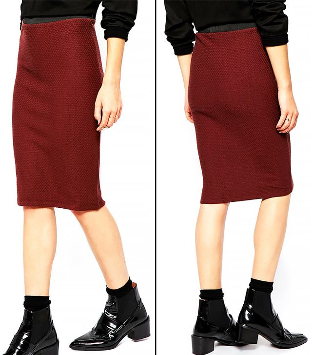 Selected Alton Pencil Skirt in Textured Jersey with Contrast Waistband