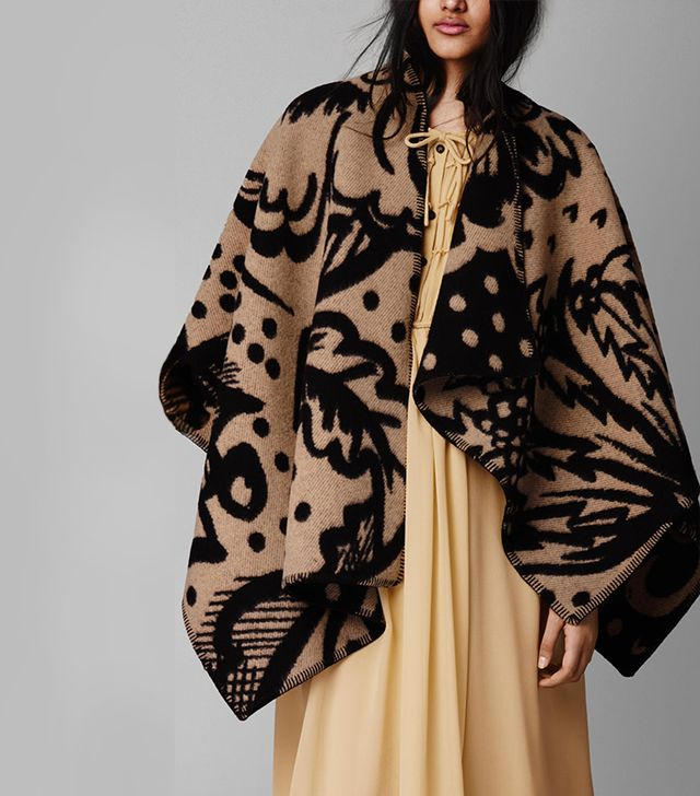 Burberry Thistle Motif Blanket Poncho