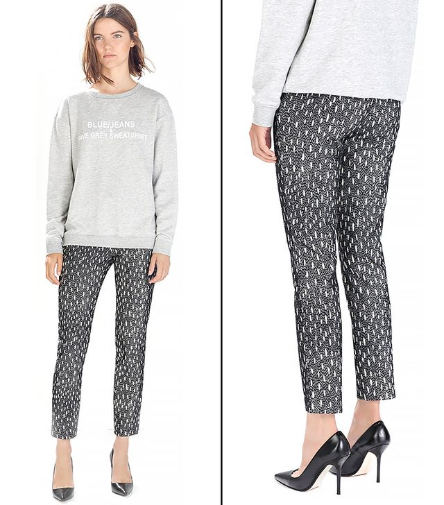 Zara High Waisted Jacquard Patterned Trousers