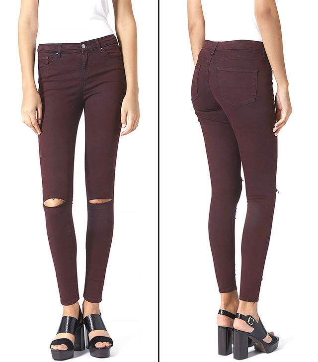 Topshop Moto Ripped Aubergine Leigh Jeans