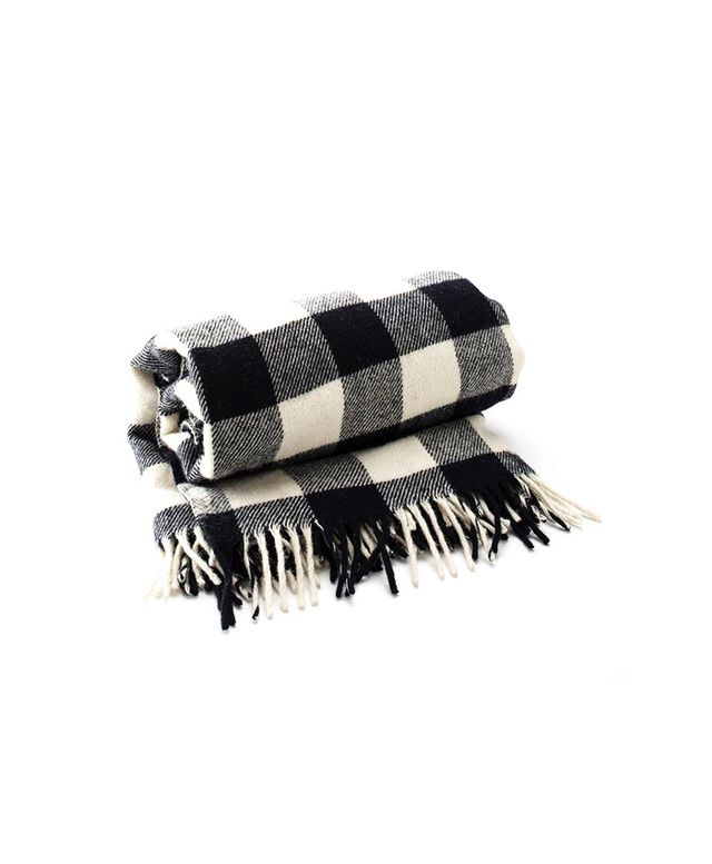 Faribault Woolen Milll Buffalo Plaid Fringed Throw