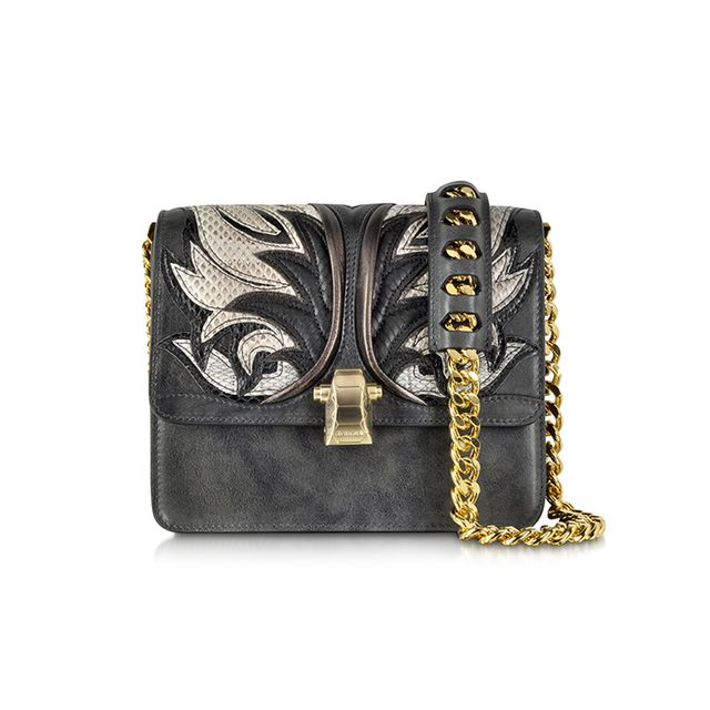Roberto Cavalli Hera Charcoal Leather and Ayers Fire Patchwork Shoulder Bag