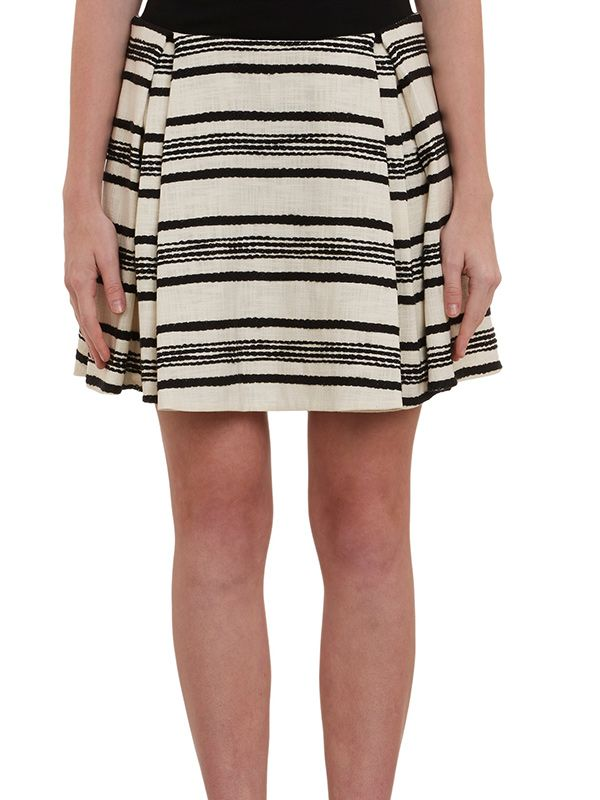 Thakoon Rustic-Stripe Jacquard Pleated Skirt