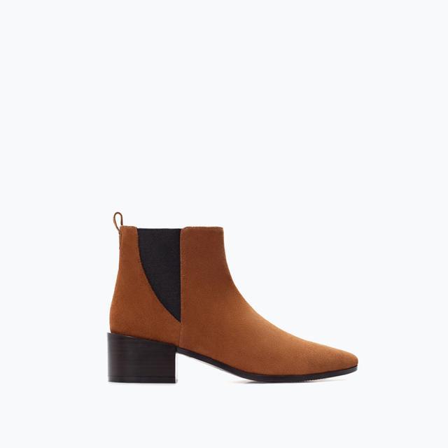 Zara High-Heeled Leather Booties