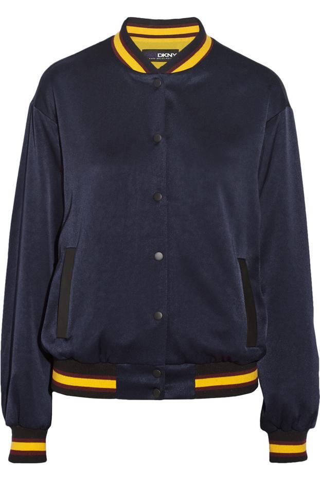 DKNY + Cara Delevingne Crepe de Chine Varsity Jacket