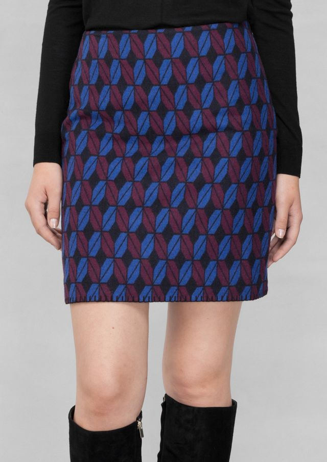 & Other Stories Graphic Jacquard Skirt