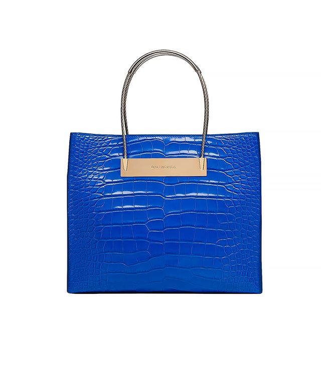 Balenciaga Electric Blue Alligator Cable Shopper