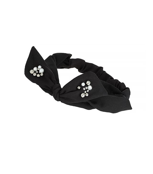 Topshop Black Fabric Bow Headband