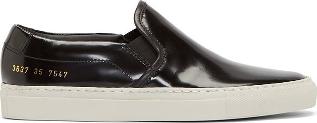 Woman by Common Projects Black Leather Slip-On Shoes