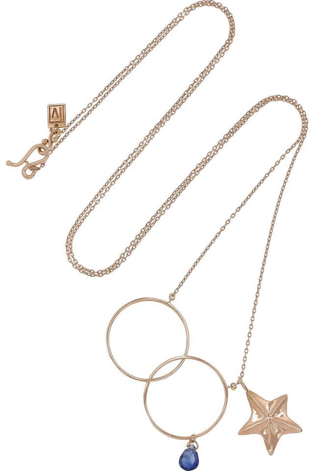 Inez and Vinoodh 18-karat rose gold sapphire necklace