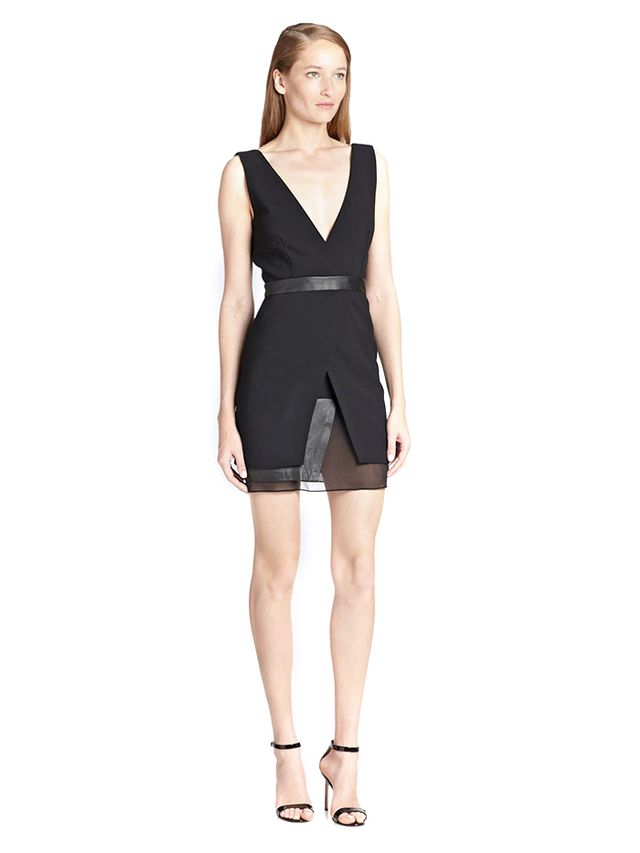 Alice + Olivia Brice Leather & Silk-Trimmed Dress