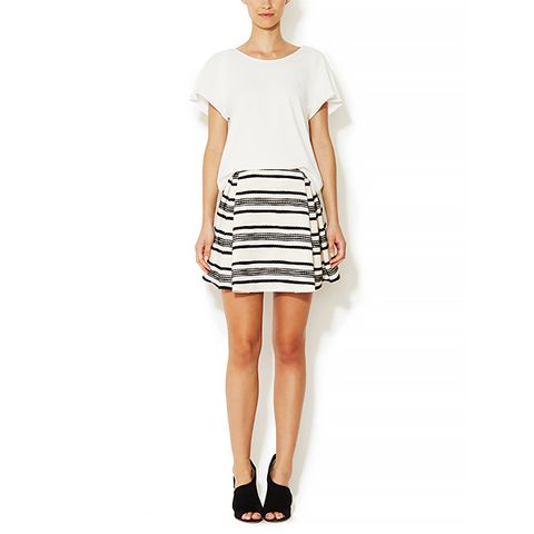 Contrast Striped Cotton Pleated Skirt