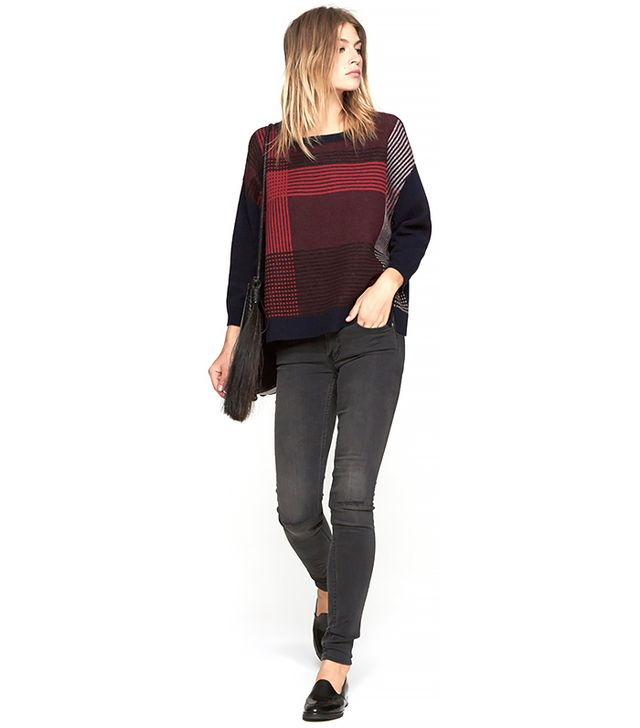 Band of Outsiders Plaid Intarsia Pullover