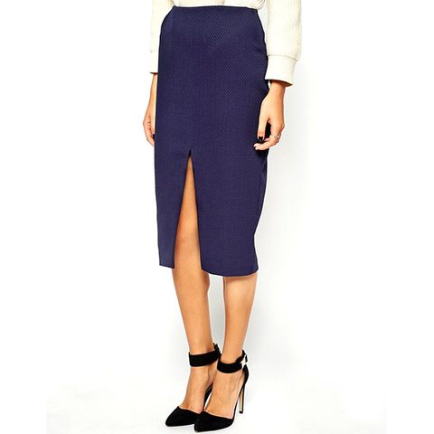Quilted Split Front Pencil Skirt
