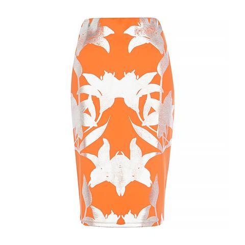 Orange Foiled Floral Print Pencil Skirt