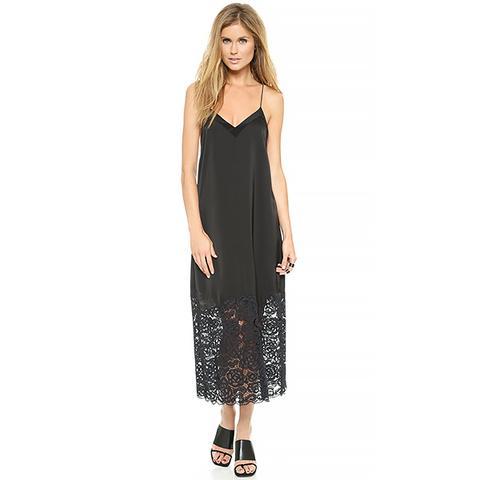 Lace Insert Long Slip Dress