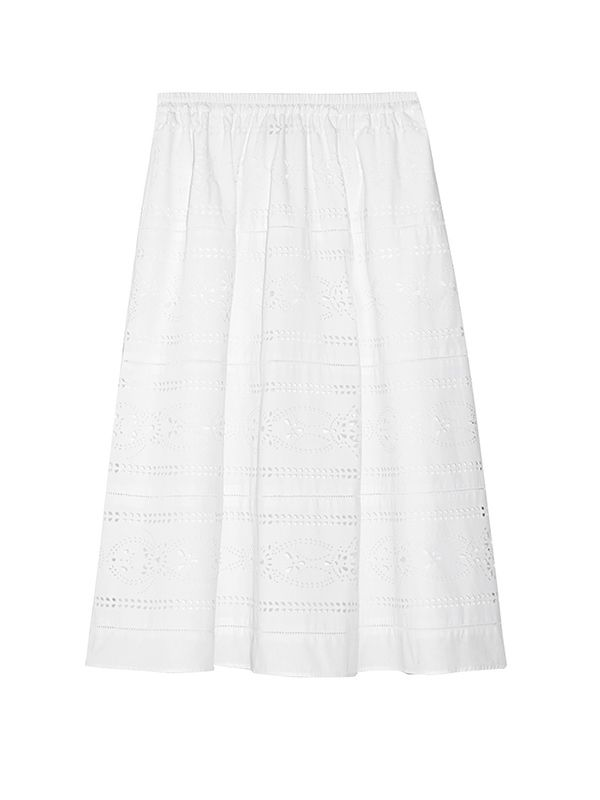 J.Crew Collection Laser-Cut Poplin Midi Skirt