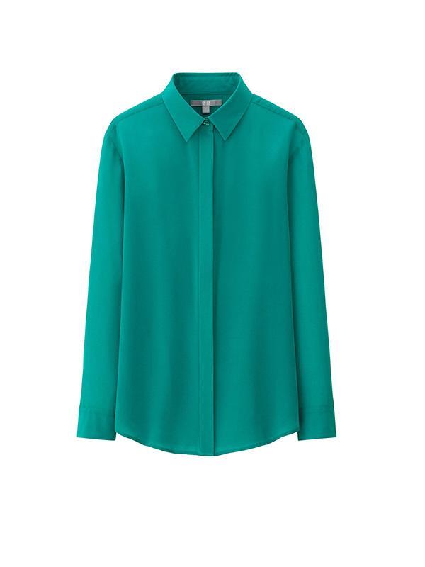 Uniqlo Women's Silk Long Sleeve Blouse