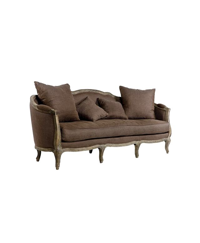 Rue Du Bac Brown Linen Back Three Seat Sofa