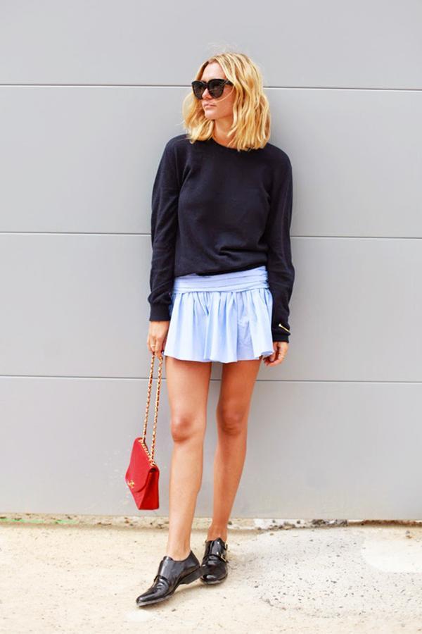Similar miniskirt: River Island Gathered Miniskirt ($48) in Pale Blue