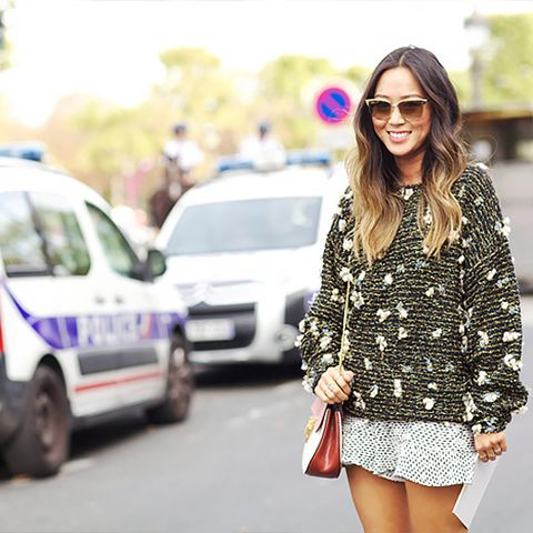 mini skirt and embellished sweater