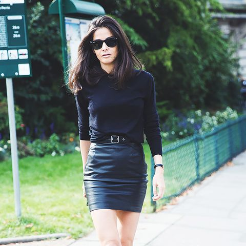 leather mini skirt and black sweater