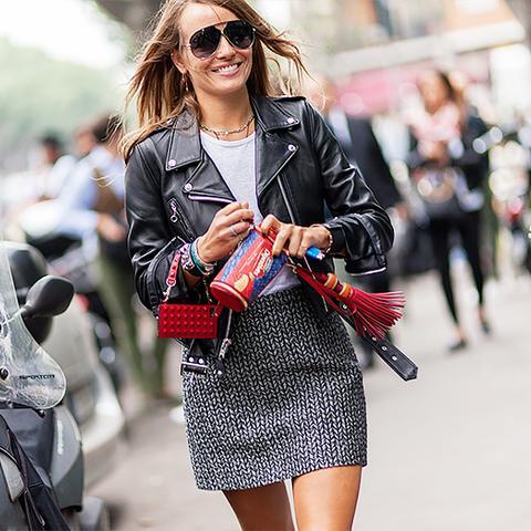 printed mini skirt and leather jacket