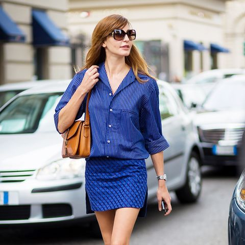 blue mini skirt and striped blouse