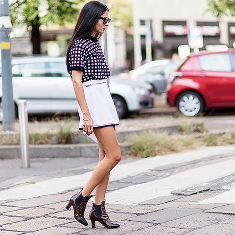 white mini skirt and printed top