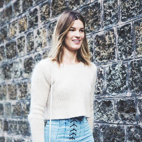 jean mini skirt with sweater