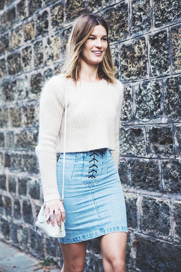 Similar miniskirt: Moschino Quilted Denim Miniskirt ($850)