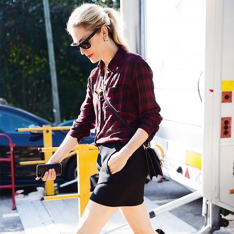 black mini skirt and flannel