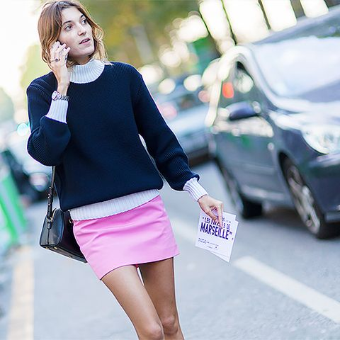 pink mini skirt with sweater
