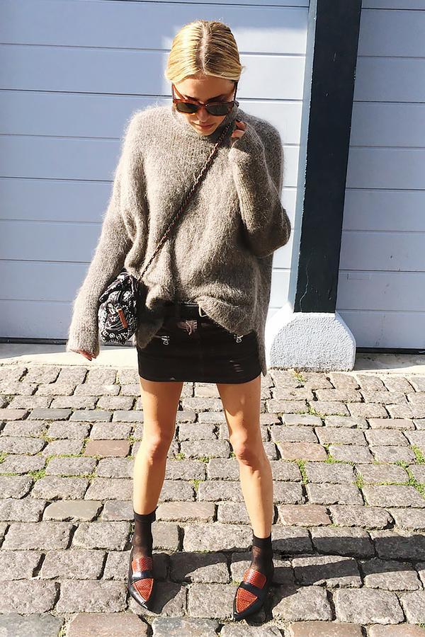 Similar miniskirt: Mango Peccary Leather Skirt ($80) in Black