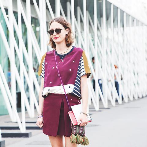burgundy mini skirt with statement top