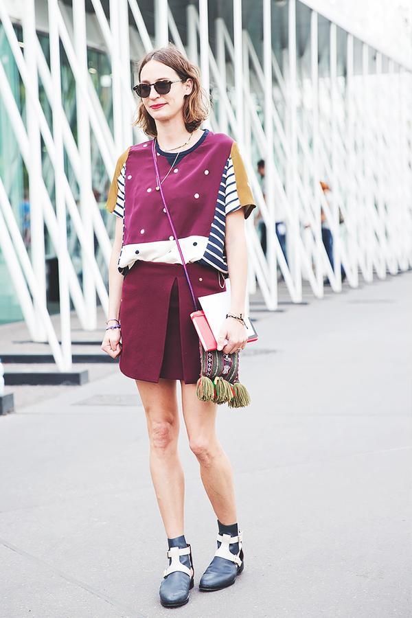 Similar miniskirt: Paul & Joe Sister Flared Skirt ($199) in Bordeaux