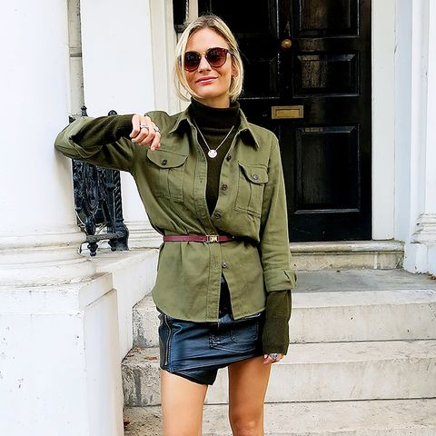 leather mini skirt with military jacket