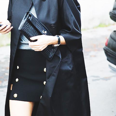 black mini skirt with overcoat