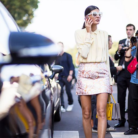 embellished mini skirt with yellow blouse