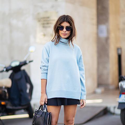 black mini skirt with blue oversized sweater