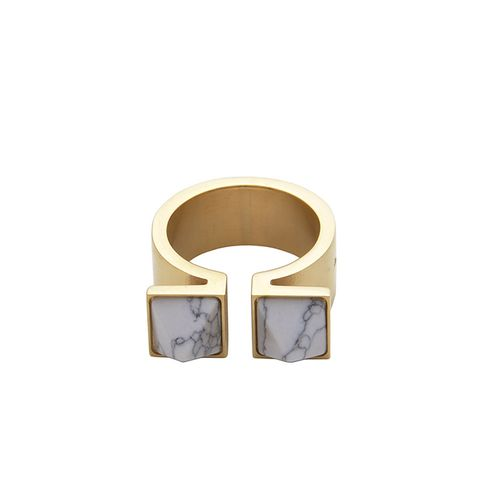 Double Pyramid Gold and Marble Ring