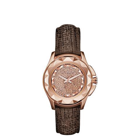 Karl 7 Brown Lizard-Textured Leather Strap Watch 36mm