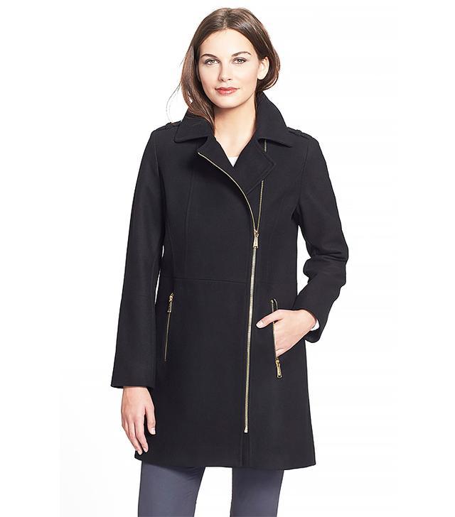 MICHAEL Michael Kors Asymmetrical Wool Blend Coat