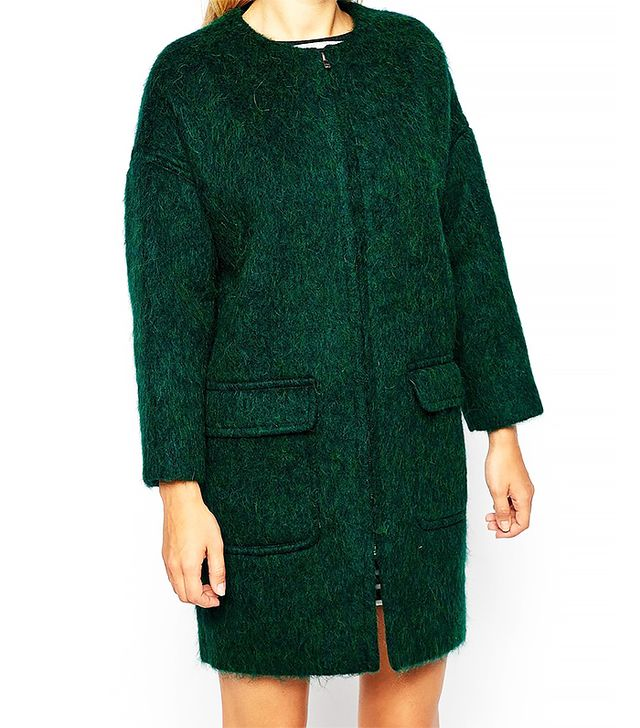 Studio 4 London Cocoon Coat in Fluffy Wool with Zip Front