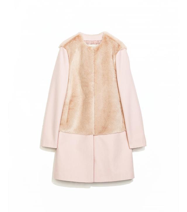 Zara Combination Fur and Wool Coat
