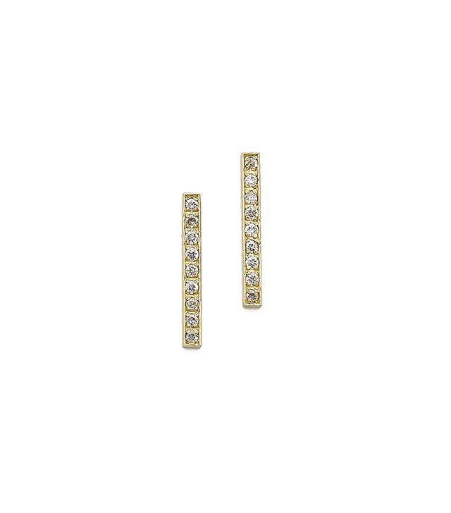 Jennifer Meyer 18K Gold Bar Diamond Stud Earrings